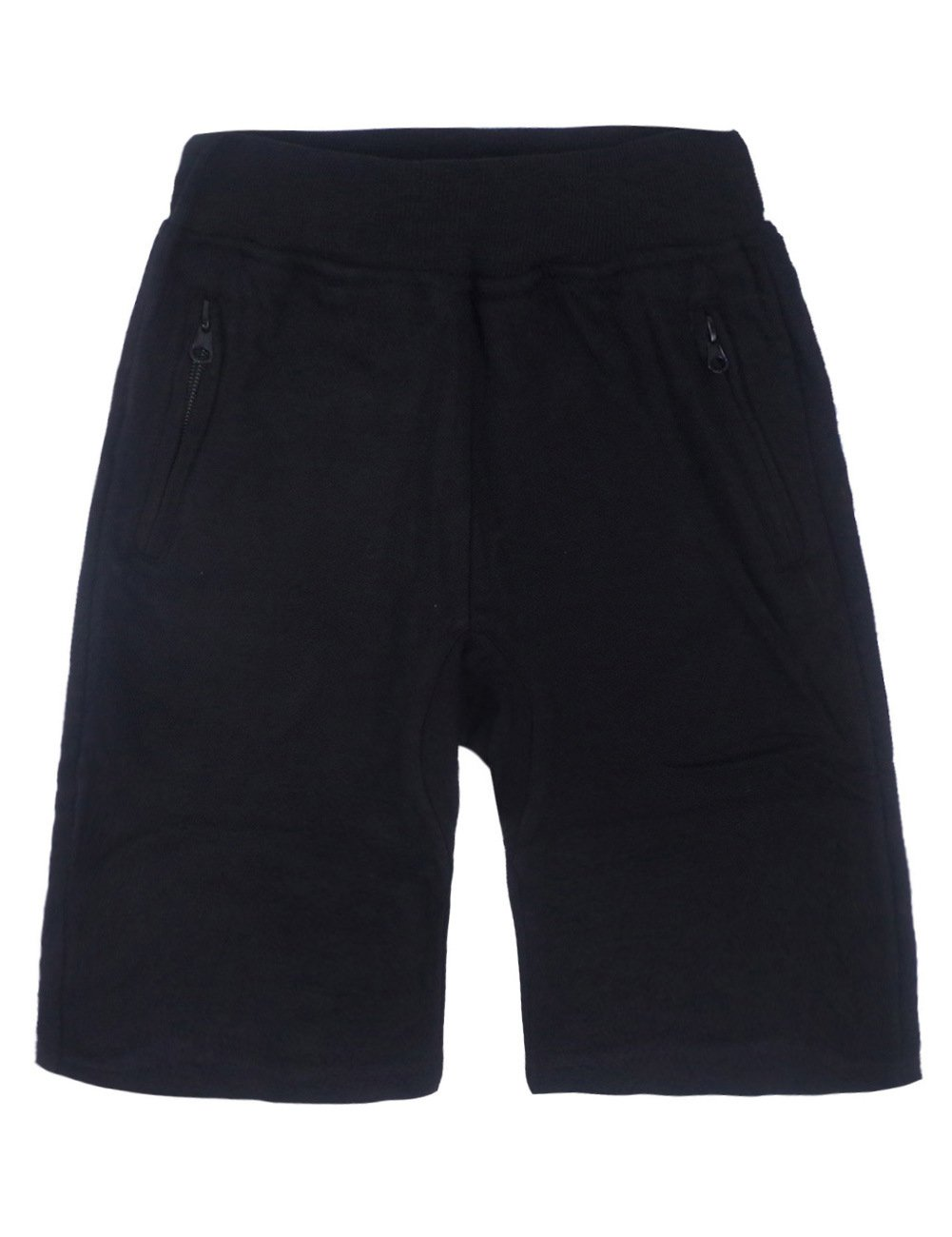 Spring&Gege Boys' Pull On Soft Solid Basic French Terry Sport Shorts, 5-6 Years, Black