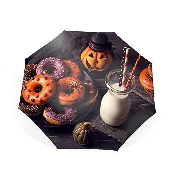 e97267b970a7 Amazon.com: Halloween Doughnut Milk Travel Umbrella, Automatic ...