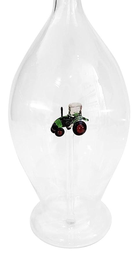 Garaffa jarra botella decanter de vidrio cristal soplado a boca forma ovalada con un tractor en