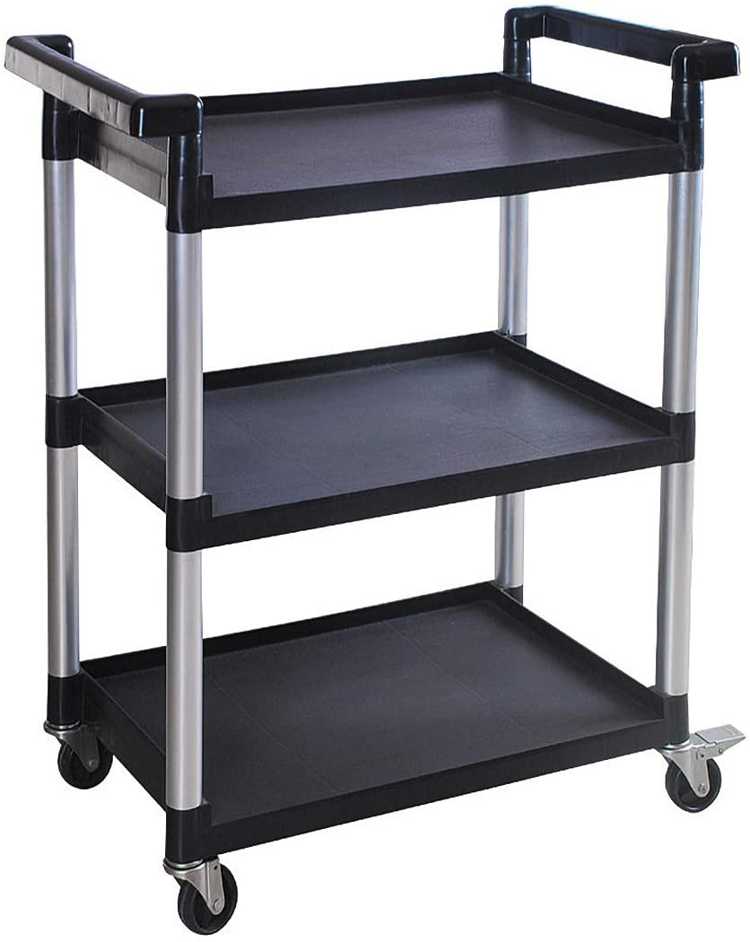 MaxWorks 80774 3-Shelf Utility Plastic Cart with Wheels-225 Lbs Maximum Capacity