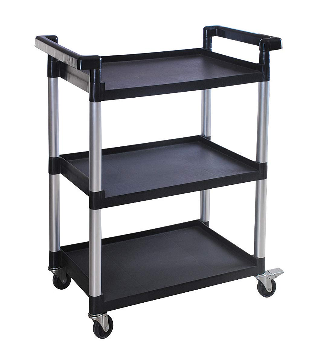 MaxWorks 80774 3-Shelf Utility Plastic Cart with Wheels-225 Lbs Maximum Capacity by MaxWorks