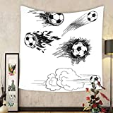 Gzhihine Custom tapestry Sports Decor Tapestry Soccer Ball Surrounded by Art Graphic Design Petals Football Game Theme Bedroom Living Room Dorm Decor Dark Blue White and Black