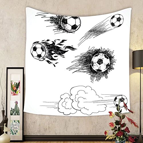Gzhihine Custom tapestry Sports Decor Tapestry Soccer Ball Surrounded by Art Graphic Design Petals Football Game Theme Bedroom Living Room Dorm Decor Dark Blue White and Black by Gzhihine