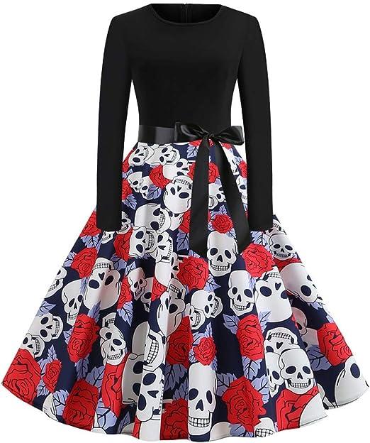 ZHFEL Vestido Halloween Disfraz, Esqueleto Imprimiendo Falda De ...