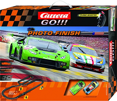 Carrera GO!!! Photo Finish Slot Car Race Track - 1:43 Scale Analog System - Includes 2 Cars: Lamborghini and Ferrari and 2 Controllers - Electric-Powered Set for Ages 8 and - Carrera Race Cars