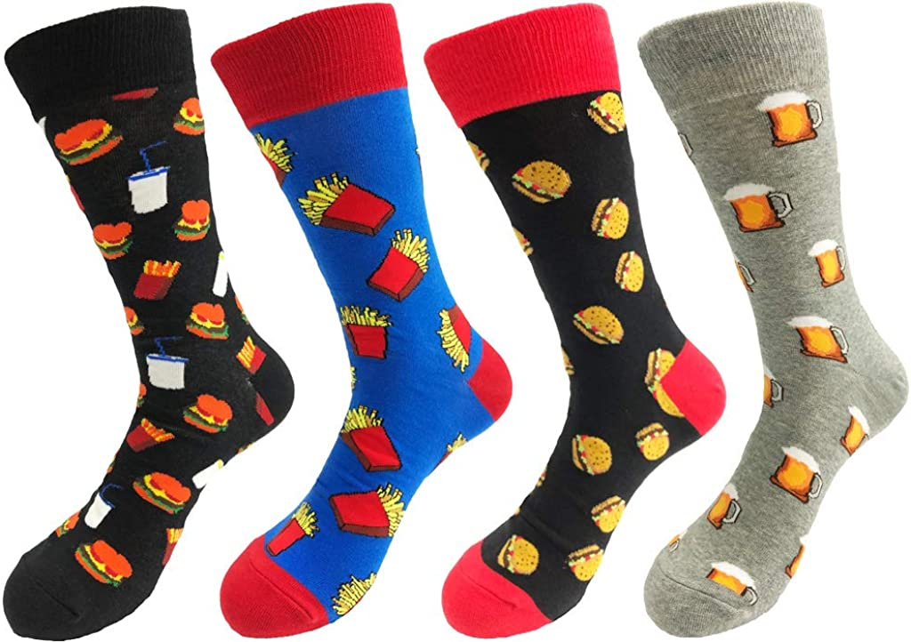 TOSKIP Mens Womens Funny Cool Fruits and Casual Funny Fast-Food Cotton Novelty Socks 4 Pairs Size 7-13