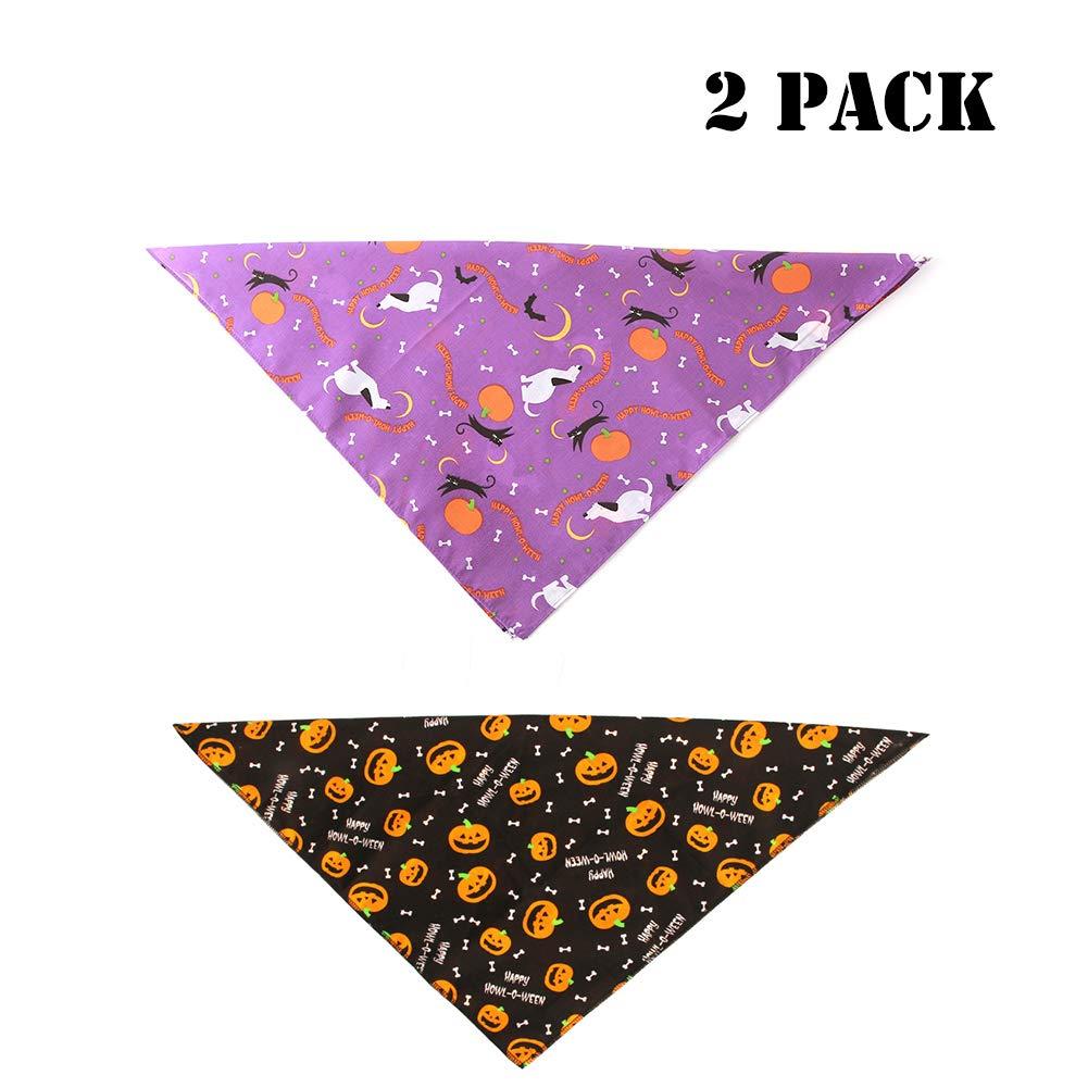 Yu-Xiang 2 Pack Halloween Dog Bandanas Pet Pumpkin Bandana Devil Pattern Neck Ornament Cartoon Stylish Pet Bib Decoration Black+Purple