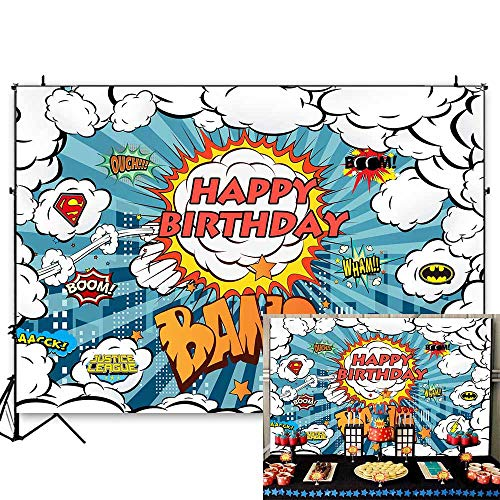 Funytree 7X5FT Superhero Backdrop Super Hero City Buildings Comic Photography Background Boys Bang Boom Birthday Party Banner Cartoon Cityscape Custom Wall Poster Baby Shower for Photo Booth Studio]()