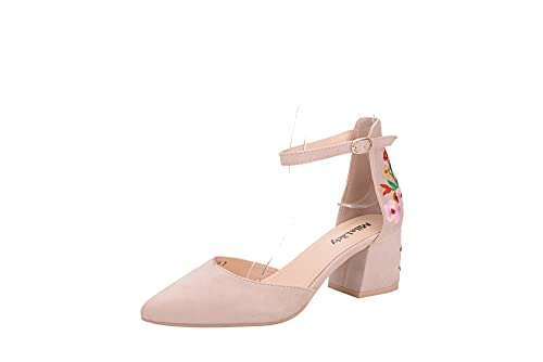 ba6925685 Mila Lady (Novia Women s Block Low Heel Ankle Strap Pointy Toe D Orsay Dress