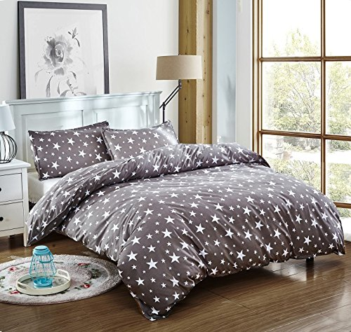 (Bedding Duvet Cover Set 3-pieces Twin Size Microfiber, White And Grey Stars Stripes Prints Floral Patterns Design,Without Comforter (Twin, (1Duvet Cover+2Pillowcases)#05) )