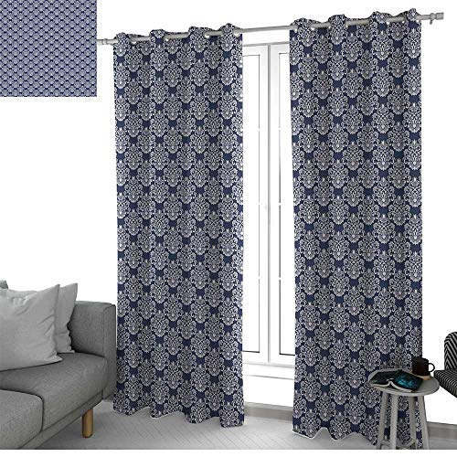 - LewisColeridge Curtains 84 inch Length Navy Blue,Abstract Floral Damask with Antique Victorian Design Renaissance Flourish,Dark Blue Bayberry,Modern Farmhouse Country Curtains 52