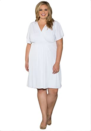 Swak Womens Plus Size Classic V Neck Dress In White At Amazon