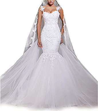aa7a64ca7fd Rudina Sexy Lace Mermaid Wedding Dress with Detachable Train White Mermaid  Beaded Tulle Bridal Gowns at Amazon Women s Clothing store