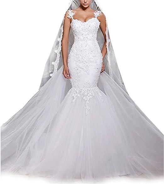 Amazon.com: Rudina Sexy de encaje vestido de novia de sirena ...
