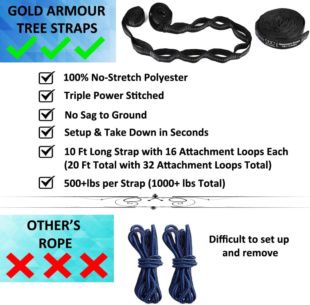Gold Armour Camping Hammock Usa Brand Lightweight Nylon Adults Kids 2 Tree Straps 32 Loops,20 ft Included Camping Accessories Gear Extra Large Double Parachute Hammock Black // Gray with Bug Net