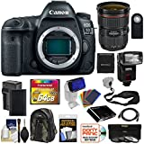 Canon EOS 5D Mark IV 4K Wi-Fi Digital SLR Camera Body with 24-70mm f/2.8L II Lens + 64GB Card + Battery & Charger + Backpack + Flash + Strap + Kit