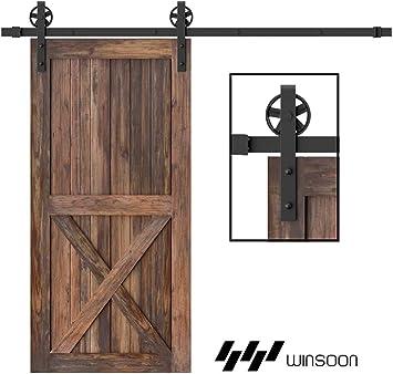 WINSOON 150cm Herrajes para puertas de granero corredizas de madera antigua Básico Negro Kit de rodillos de rueda de radios grandes Sistema de rieles de soporte para gabinete: Amazon.es: Bricolaje y herramientas