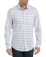 Original Penguin Mens Long Sleeve Horizontal Jaspe Woven Shirt