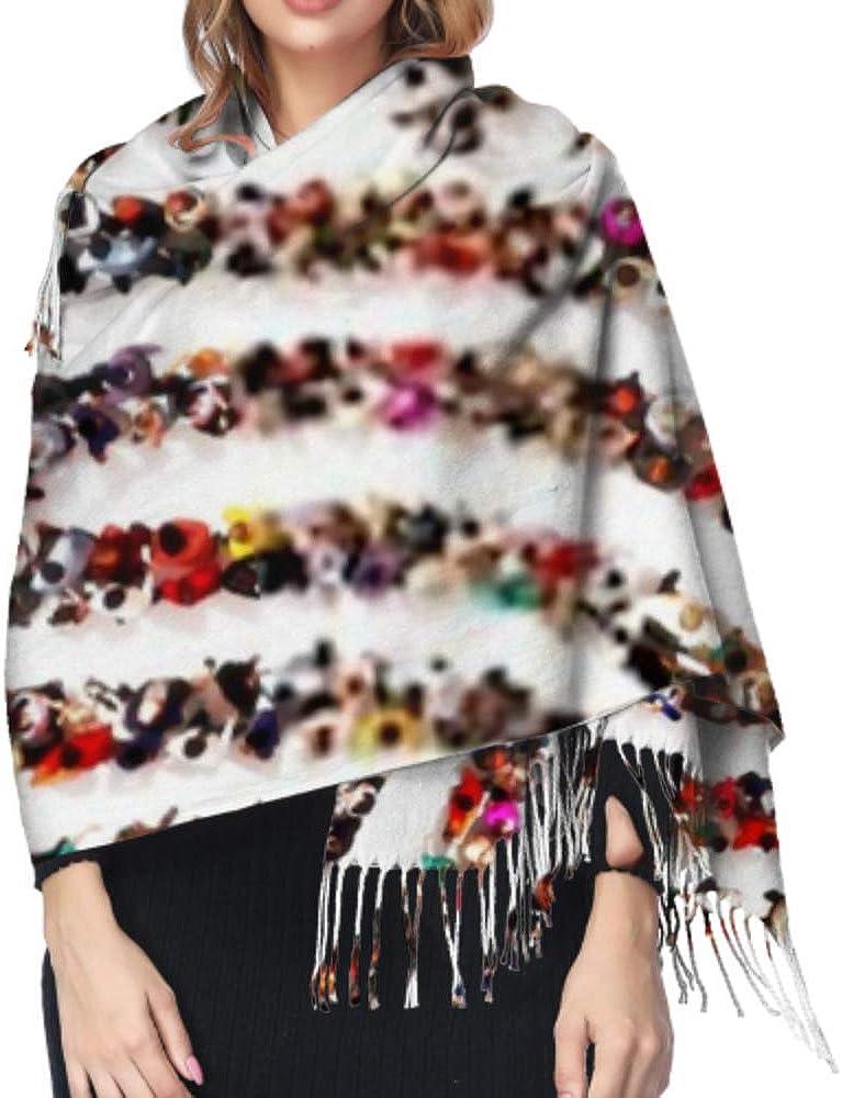 Large Group Pf People Shape Fingerprint Long Large Warm Scarves Wrap Shawl Stole Classic Cashmere Feel Unisex Winter Scarf