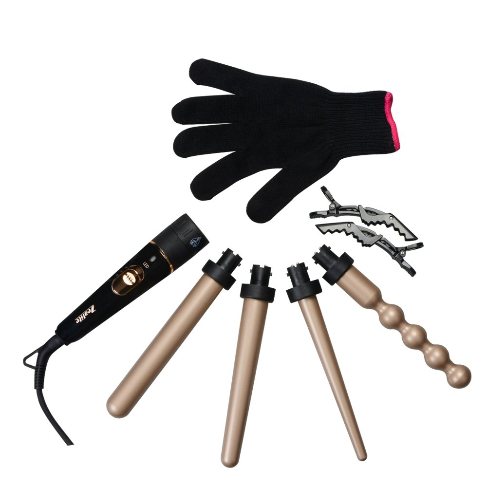 Curling Wand Set, Zealite Luxurious 4 in 1 Hair Curling Iron Set with Interchangeable Hair Wand Ceramic Barrels Free Heat Resistant Glove Gold