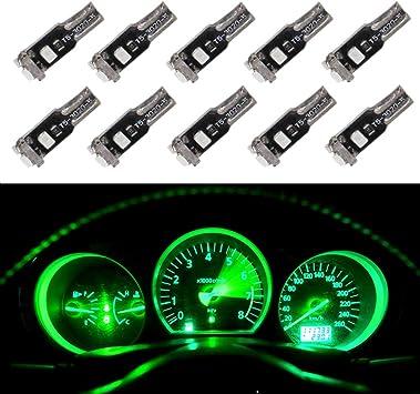 luz LED T5 Juego de 10 bombillas para interior de coche para salpicadero color azul hielo luz de instrumento