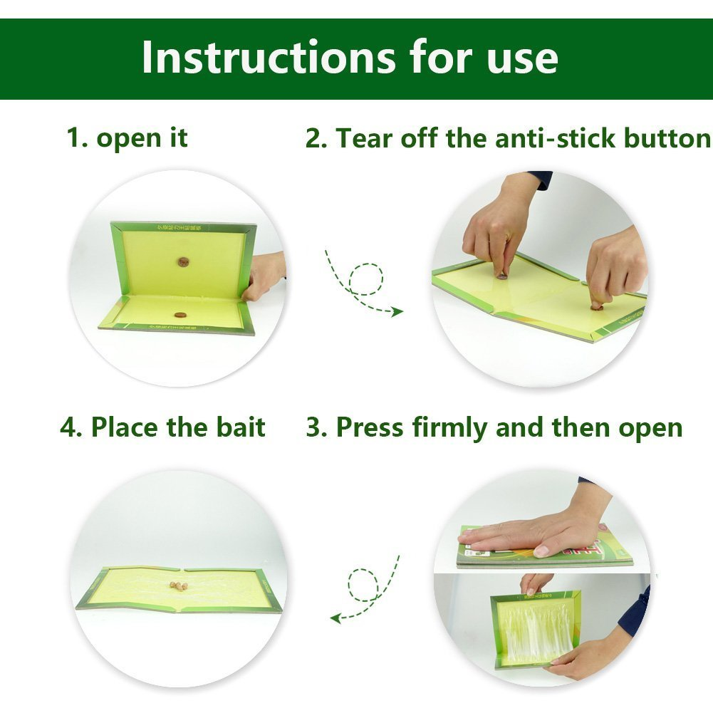 Mouse Glue Trap Sticky Boards Peanut Butter Scented Mice Rat Traps with Professional Strength Glue Kid Pet Safe Easy to Use Best Eco-Friendly Traps Rodents Cockroaches Bugs Ants Spiders (6 Pack)