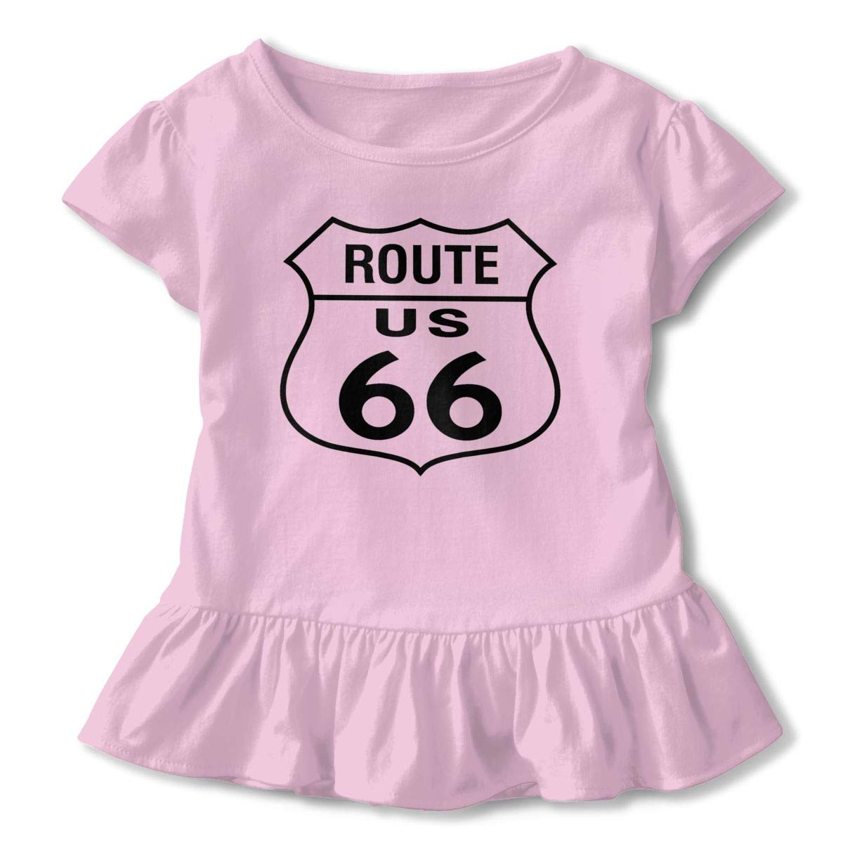 JVNSS Route 66 T-Shirt Baby Girl Flounced T Shirts Fashion Graphic T-Shirt for 2-6T Baby Girls