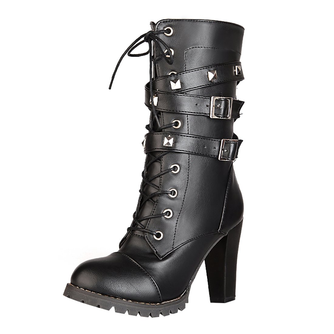 UH Damen Schnür Stiefeletten High Heels Blockabsatz Ankle Boots mit Nieten Reißverschluss und Schnalle Schuhe  35 EU|Schwarz