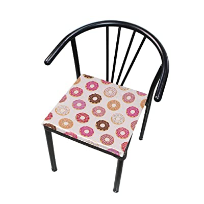 """Bardic HNTGHX Outdoor/Indoor Chair Cushion Colorful Donut Pattern Square Memory Foam Seat Pads Cushion for Patio Dining, 16"""" x 16"""": Home & Kitchen"""