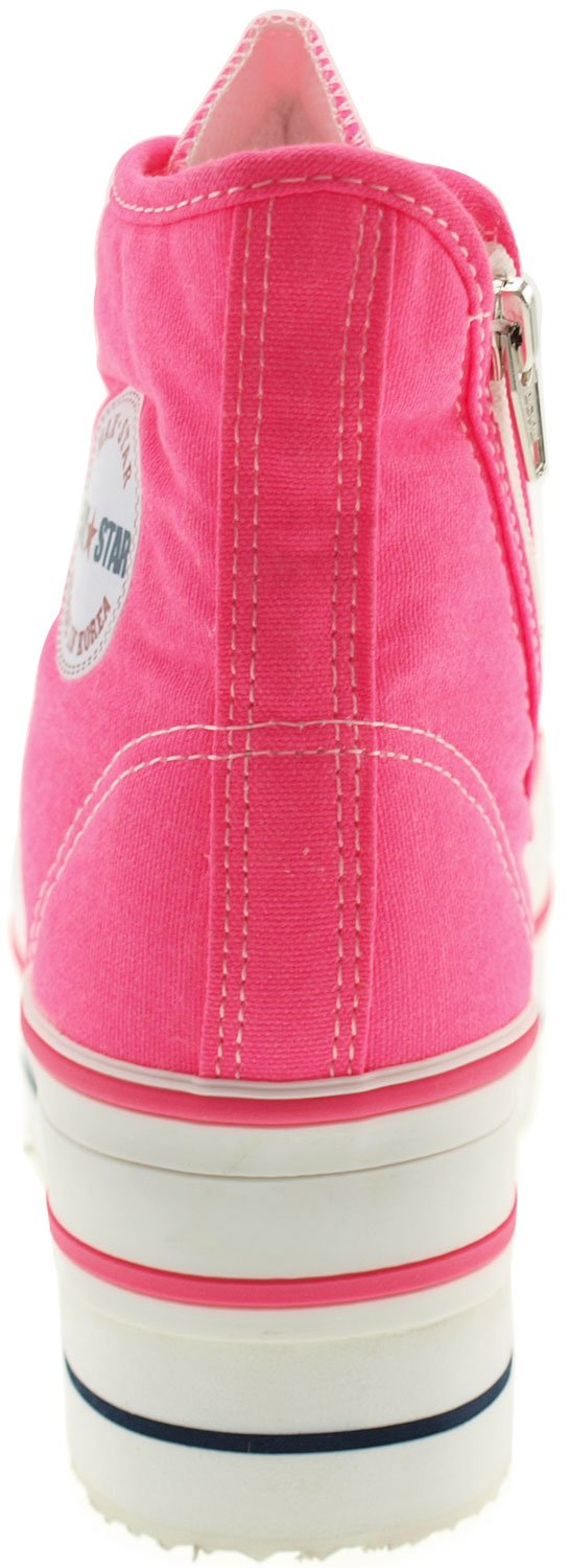 CN9 8 Holes Double Platform Denim Studed Taller Insole High Top Sneakers B00CLM7CJC 8 B(M) US|Neon Pink