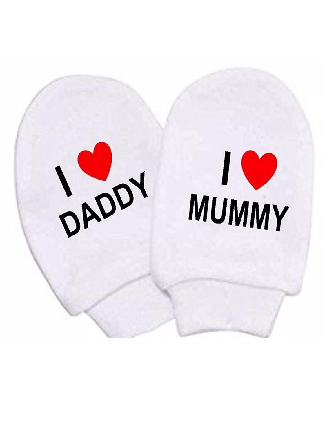 Baby Boy Girl I Heart Mummy & Daddy Mitts White Cotton Scratch Mittens Newborn
