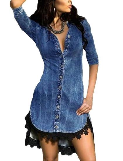 emmarcon Vestito da Camicia Jeans Maglia Maglietta Bordo con Pizzo Vestito  Abito da Donna  Amazon.it  Abbigliamento a1386c43120