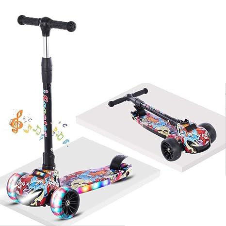 KOBOOW Scooter Patinete para niños Altura Ajustable 3 Ruedas ...