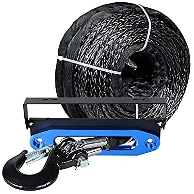 "Astra Depot GRAY 95ft x 3/8 20500LBs Synthetic Winch Rope Cable w/Black Hook + 10"" Anodized BLUE Hawse Fairlead + 4 Mounting Hole 254mm Flip-Up License Plate Holder Kit"