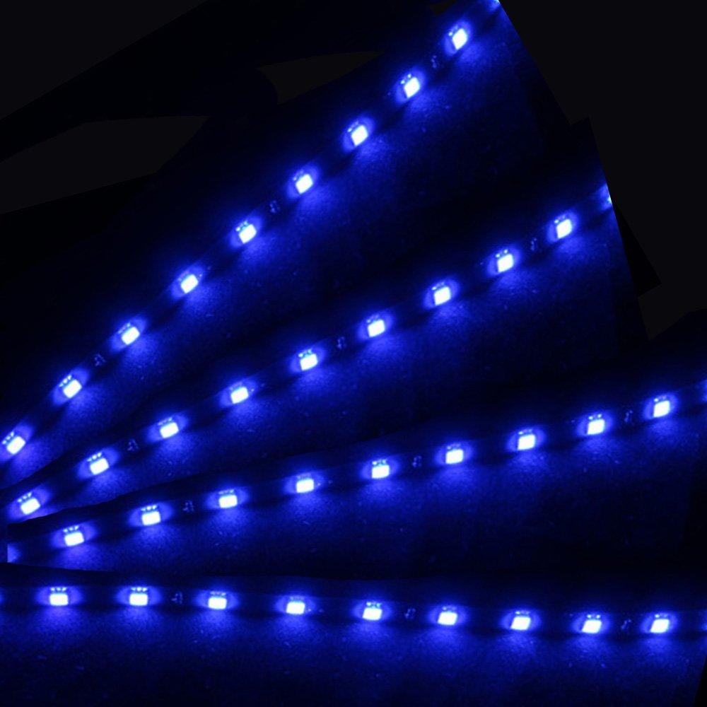 E Support/™ 8 X 30cm 15 LED Auto KFZ Wasserdicht LED Lichtleiste Balken SMD Streifen Leiste 12V rote