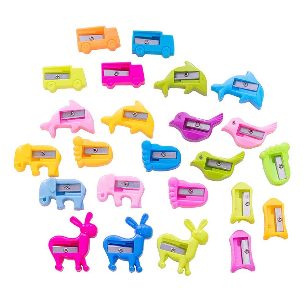 24pcs degli animali del fumetto all'ingrosso a forma di temperamatite per i bambini, Piccolo Carino Bulk Manuale impacco alle mani Daptsy