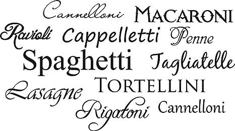 GRAZDesign Wandtattoo Küche Italien - Wandtattoos Küche Esszimmer  Restaurant - Aufkleber für Küche Nudeln Sorten / 72x40cm / 070 schwarz