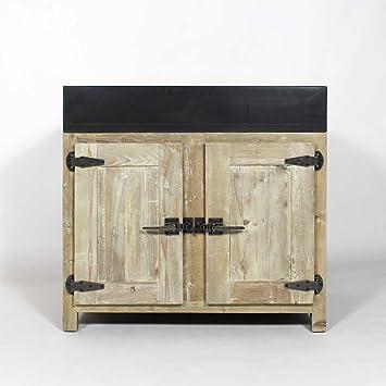made in meubles meuble cuisine bois recycl avec vier 2 bacs jc17