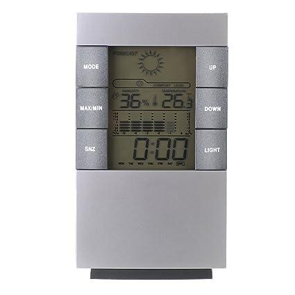 Topop Mini Estaciones Meteorológicas para Hogar, 4 en 1 Reloj Despertador Termómetro Calendario Digital con