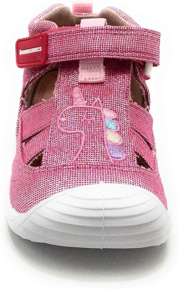 Biomecanics 202206B Girls Closed Toe First Walker Canvas Grey Sandals