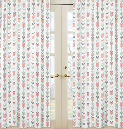 Sweet Jojo Designs 2-Piece Grey, Coral and Mint Woodland Arrow Girls Bedroom Decor Window Treatment Panels from Sweet Jojo Designs