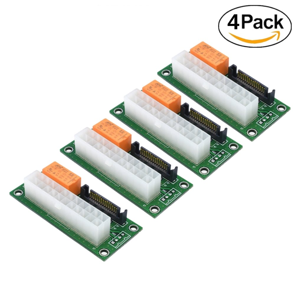 Dual PSU Power Supply Adapter , Add2PSU ATX 24Pin to Molex 4-Pin Multiple Power Supply Sync Starter Extender Card For BTC Miner Machine -4 Pack
