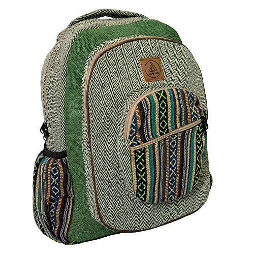 Green Rasta Backpack Hemp - Handmade Large Bohemian Rasta Backpacks for Men & Women - Multi Pocket Pure Himalayan Hemp Rucksack