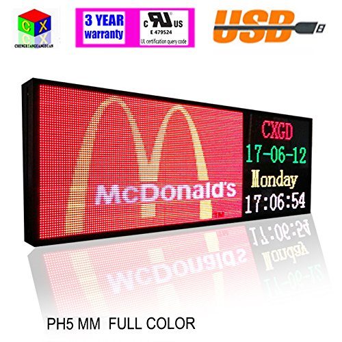 RGB Full color 39x14inch P5 Indoor LED Message Sign Moving Scrolling led Display Board for shop windows