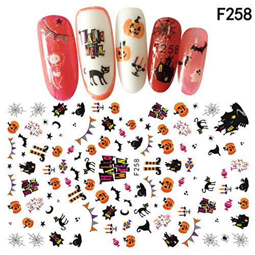 Hatop Nail Art Decals Trick or Treat Happy Halloween Manicure Transfer Stickers (Halloween Finger Treats)