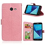 Daker Galaxy J5 2017 Wallet Case [Stand Feature] Samsung Galaxy J5 2017 Card Case Premium Protective PU Leather Flip Cover / Card Slot Side Pocket Magnetic (Rose Gold)
