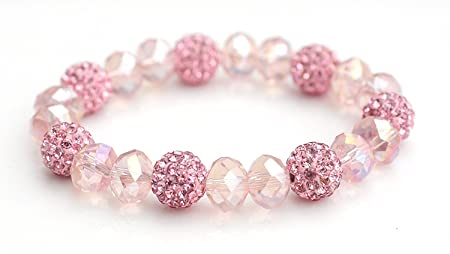 Crystal Shamballa Beads Aurora Borealis (AB) Faceted Glass Bracelet Stretch Cord Pink 12mhenhEH