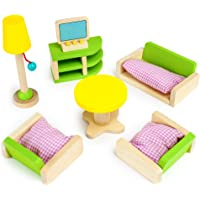 Imagination Generation Luxurious Living Room Set, 10 Pieces - Wooden Doll House Accessories Bundle - Miniature Furniture…