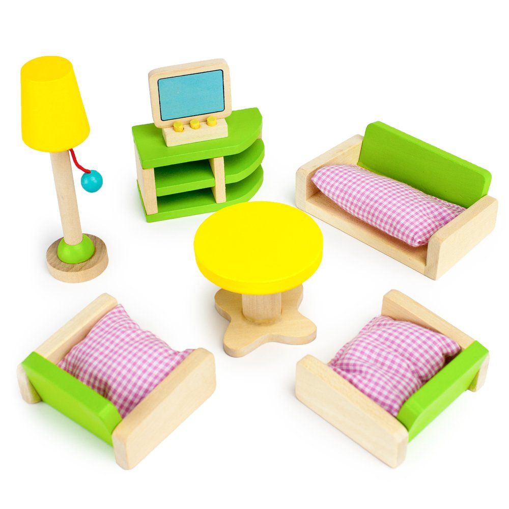 Wooden Wonders Luxurious Living Room Set, Colorful Dollhouse Furniture (10pcs.) by Imagination Generation