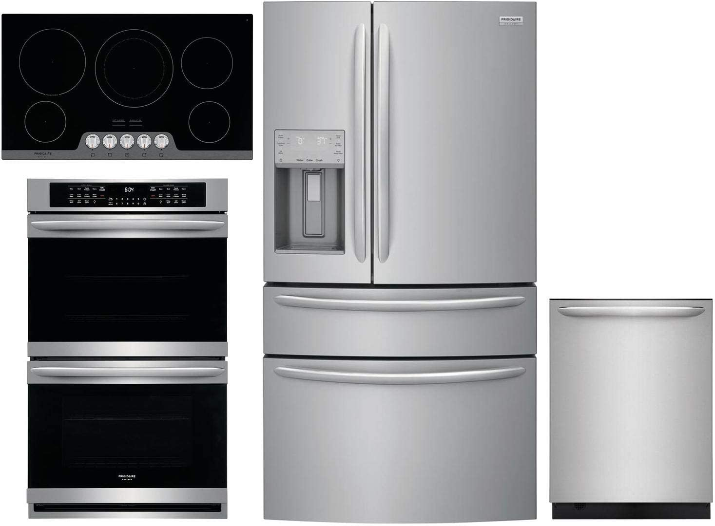 Amazon Com Frigidaire 4 Piece Kitchen Appliance Package With Fg4h2272uf 36 French Door Refrigerator Fget3066uf 30 Electric Double Wall Oven Fgec3648us 36 Electric Cooktop And Fgid2479sf 24 Built In Fully Integrated Dishwasher In